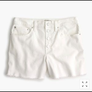 White jcrew high rise denim short